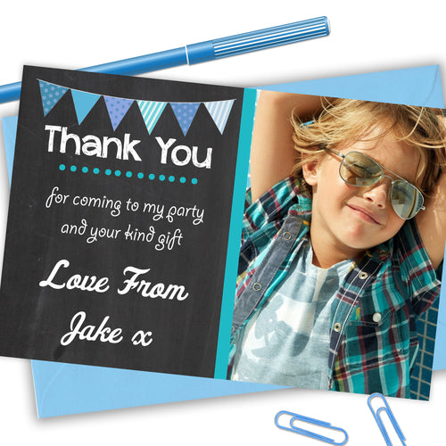 Chalkboard Bunting Boys Thank You Cards - CLCDesigns