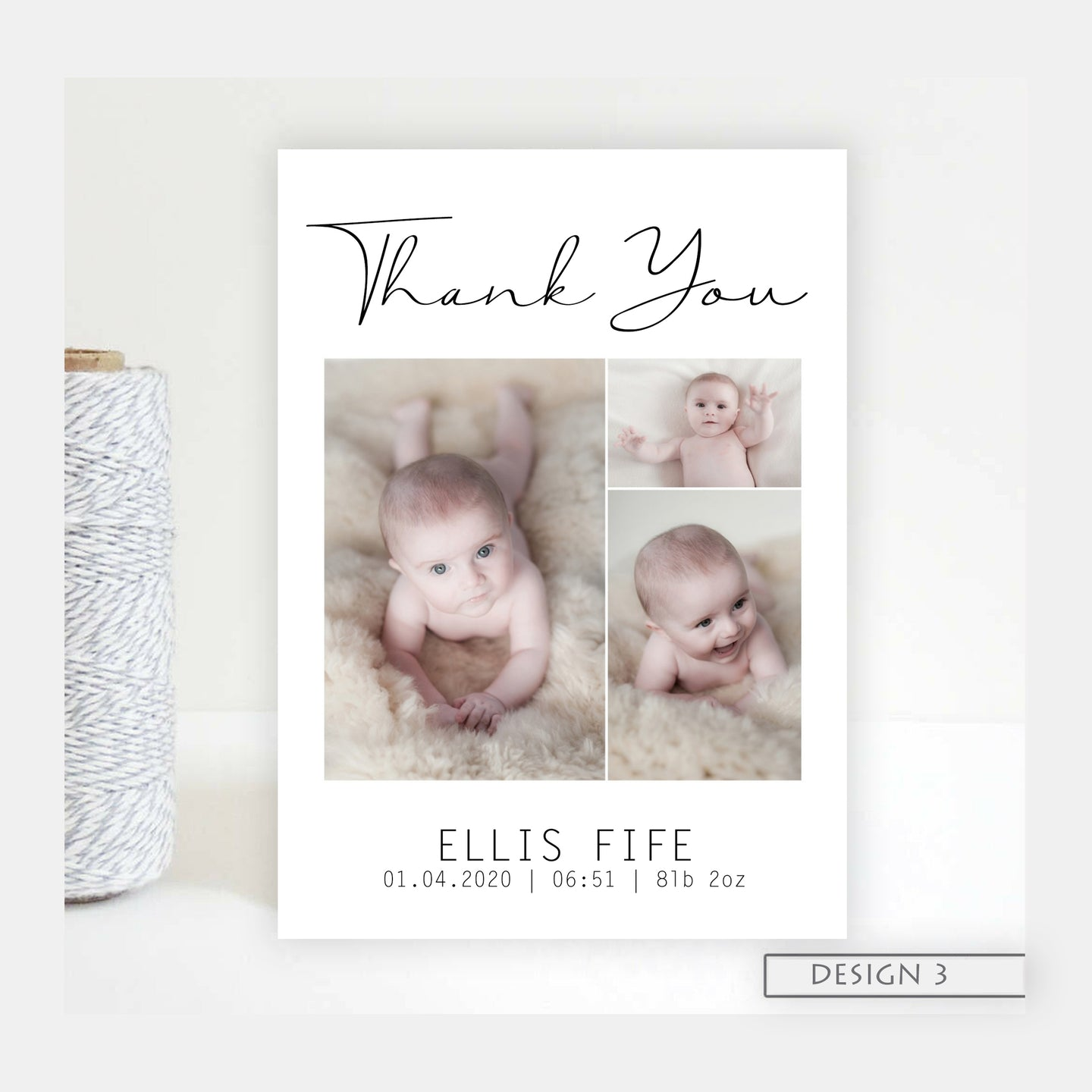 Three photo Birth Announcement Thank You Cards
