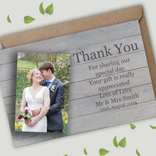 Load image into Gallery viewer, Rustic Wood Photo Wedding Thank You Cards - CLCDesigns