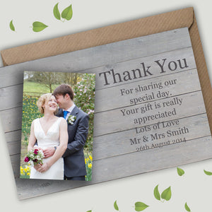 Rustic Wood Photo Wedding Thank You Cards - CLCDesigns