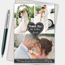 Load image into Gallery viewer, Chalkboard Heart Photo Wedding Thank You Cards - CLCDesigns