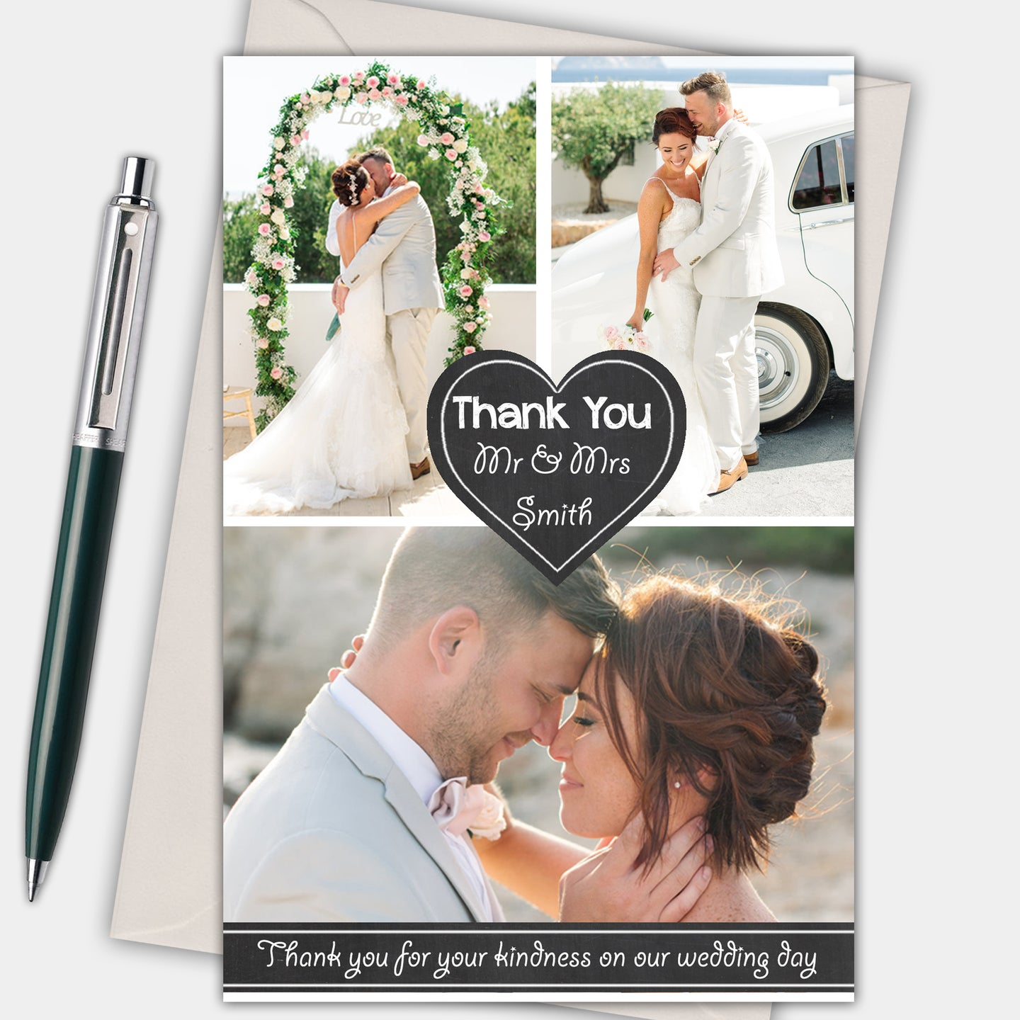 Chalkboard Heart Photo Wedding Thank You Cards - CLCDesigns