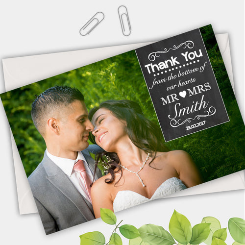 Full Photo Chalkboard Photo Wedding Thank You Cards - CLCDesigns
