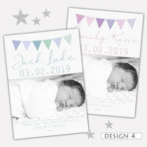 Bunting Photo Birth Announcement Thank You Cards