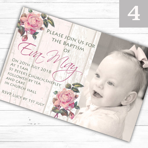 Rustic Rose Girls Photo Christening or Baptism Invitations - CLCDesigns