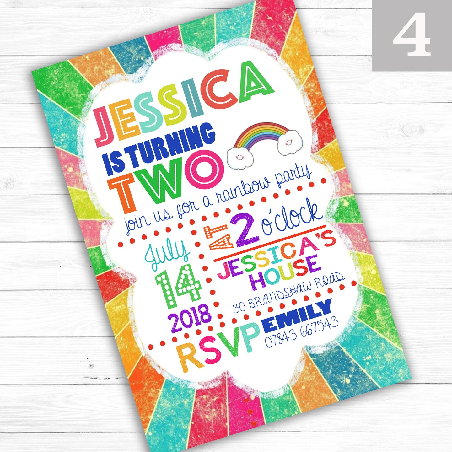 'Rainbow' Children's Boy or Girl Birthday Party Invite - CLCDesigns
