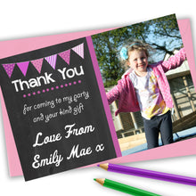 Load image into Gallery viewer, Chalkboard Bunting Girls Thank You Cards - CLCDesigns