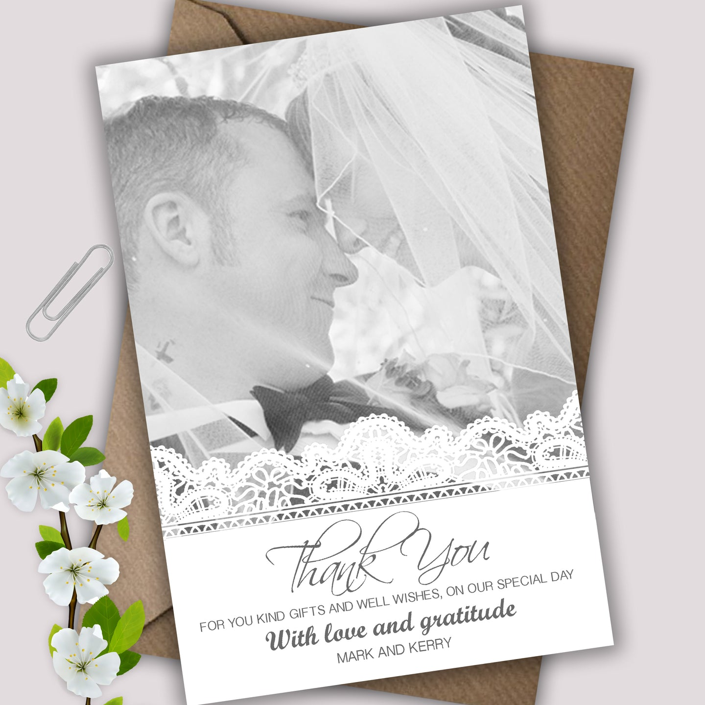 Personalised Lace Detail Photo Wedding Thank You Cards - CLCDesigns