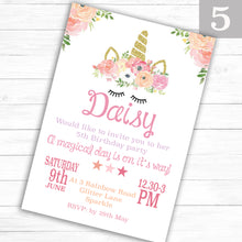 Load image into Gallery viewer, Unicorn Children's Birthday Party Invite - CLCDesigns
