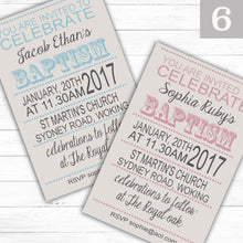 Load image into Gallery viewer, Retro Text Christening or Baptism Invitations - CLCDesigns