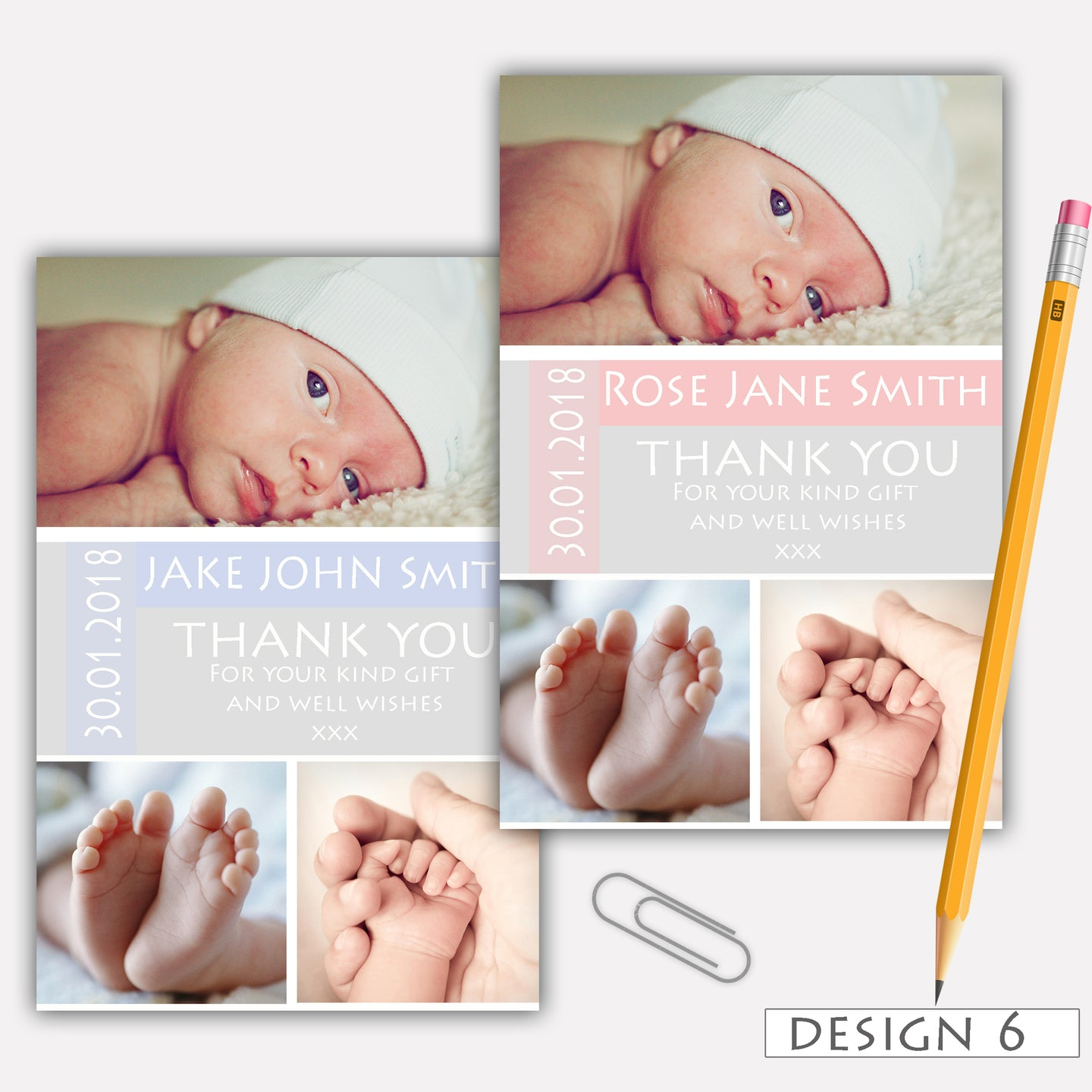 Vintage Birth Announcement Thank You Cards