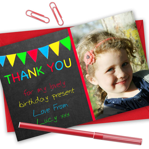 Multi Coloured Bunting Photo Thank You Cards - CLCDesigns