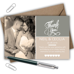 Rustic Personalised Photo Wedding Thank You Cards - CLCDesigns