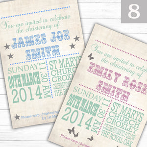 Vintage Text Christening or Baptism Invitations - CLCDesigns