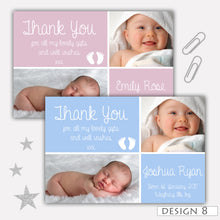 Load image into Gallery viewer, Chalkboard Bunting Photo Birth Announcement Thank You Cards