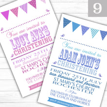 Load image into Gallery viewer, Bunting Text Christening or Baptism Invitations - CLCDesigns