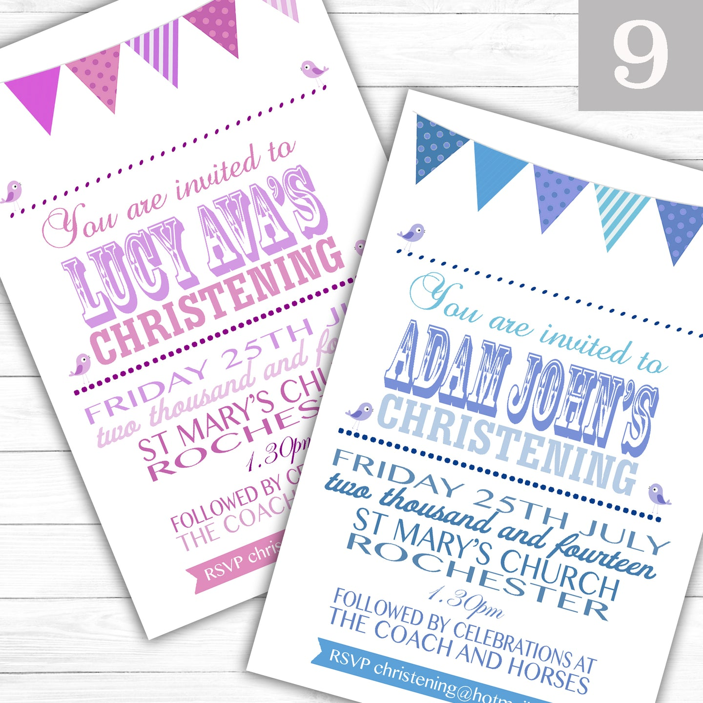 Bunting Text Christening or Baptism Invitations - CLCDesigns