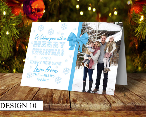 Snowflakes Photo Personalised Christmas Cards