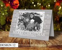 Load image into Gallery viewer, Wood Photo Personalised Christmas Cards