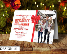 Load image into Gallery viewer, Ribbon Photo Personalised Christmas Cards