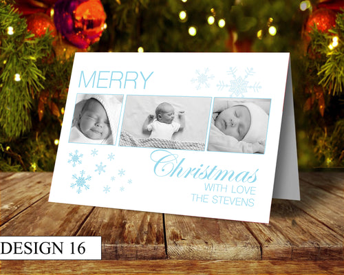 3 Photo Personalised Christmas Cards