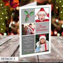 Load image into Gallery viewer, 3 Photo Personalised Christmas Cards