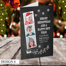 Load image into Gallery viewer, Photo Strip Personalised Christmas Cards