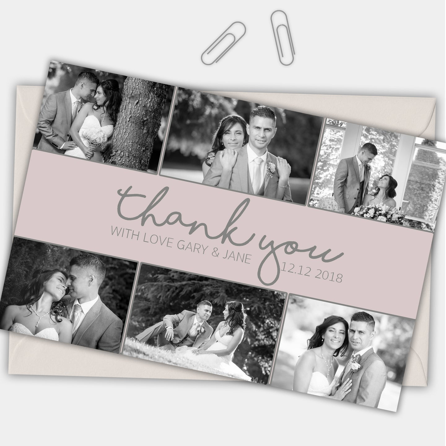 Photo Simple Personalised Photo Wedding Thank You Cards - CLCDesigns