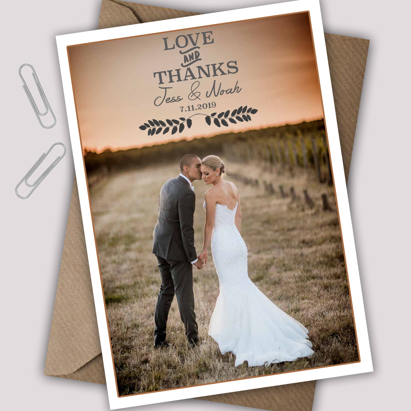 Love And Thanks Single Photo Wedding Thank You Cards - CLCDesigns