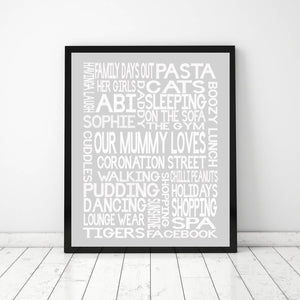 'OUR MUMMY LOVES' Word Art Print