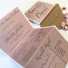Load image into Gallery viewer, Classic Chic Wedding Concertina Invitation Invites Personalised Invitations Wedding Invites Any Colour