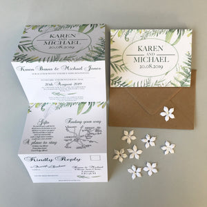 Personalised Botanical Concertina Wedding Invites Day or Evening
