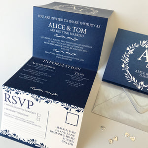 Classic Navy Wedding Concertina Invitation Invites Personalised Invitations Wedding Invites