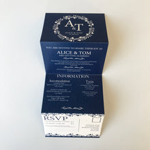 Load image into Gallery viewer, Classic Navy Wedding Concertina Invitation Invites Personalised Invitations Wedding Invites
