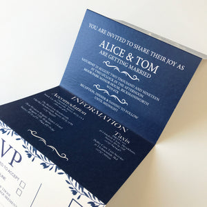 Copy of Classic Navy Wedding Concertina Invitation Invites Personalised Invitations Wedding Invites