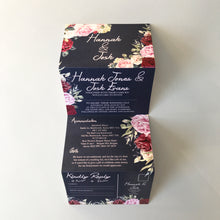Load image into Gallery viewer, Personalised Vintage Floral Concertina Wedding Invite Day or Evening