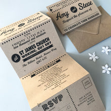 Load image into Gallery viewer, Personalised Retro Kraft Concertina Wedding Invites Day or Evening