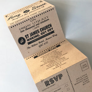Personalised Retro Kraft Concertina Wedding Invites Day or Evening