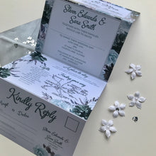 Load image into Gallery viewer, Watercolour Grey and Sage Concertina Invitation Invites Personalised Invitations Wedding Invites