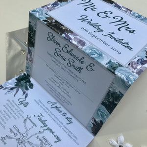 Watercolour Grey and Sage Concertina Invitation Invites Personalised Invitations Wedding Invites
