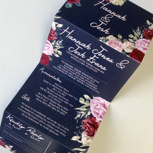 Personalised Vintage Floral Concertina Wedding Invite Day or Evening