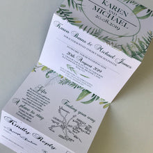 Load image into Gallery viewer, Personalised Botanical Concertina Wedding Invites Day or Evening