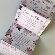 Load image into Gallery viewer, Personalised Vintage Rose Concertina Wedding Invites Day or Evening