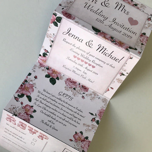 Personalised Vintage Rose Concertina Wedding Invites Day or Evening