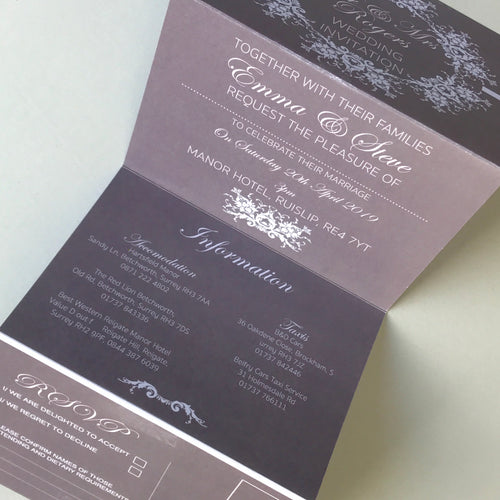 Personalised Classic Grey Concertina Wedding Invites Day or Evening