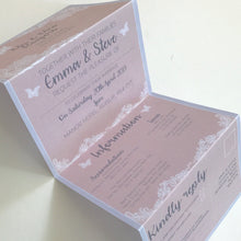 Load image into Gallery viewer, Pretty Pink Wedding Concertina Invitation Invites Personalised Invitations Wedding Invites