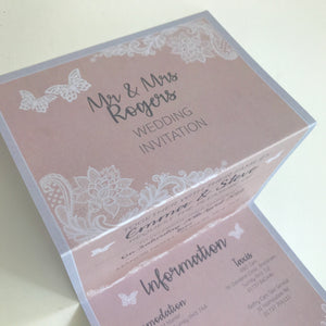 Pretty Pink Wedding Concertina Invitation Invites Personalised Invitations Wedding Invites