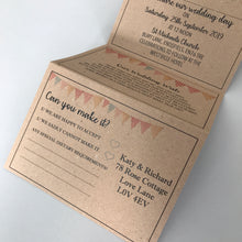Load image into Gallery viewer, Bunting Kraft Concertina Wedding Invites