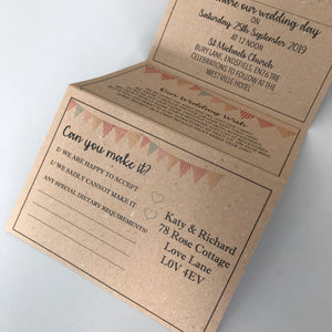 Bunting Kraft Concertina Wedding Invites