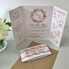Load image into Gallery viewer, Floral Blush Gate Fold and Belly Band Wedding Invites